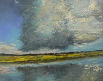 """16x20 Oil Landscape, Marsh Landscape, Palette Knife Art, """"Storm Moves Over the Marsh"""""""
