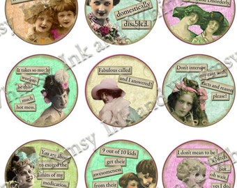 Collage sheet, 1.5  inch circle  ,  VINTAGE  SASSY LADIES Collection 2,   Vintage Photos,  Funny sayings, Instant Download.  Altered art