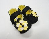 Pure Merino Wool, Black and Lemon Yellow, Baby Girl Shoes, Bumble Bees,MaryJane Baby Booties, size 1-5