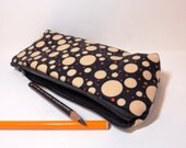 Medium Pencil Case Cotton Zipper Pouch Cosmetic Pouch  Orange and Cream  Dots on Black - handjstarcreations