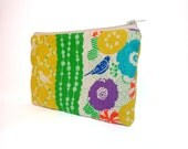 Pouch Cosmetic Bag Toiletery Bag  Wallet Cotton Linen Bird and Flowers