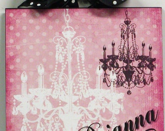 Girly Polka Dot Crystal Chandelier Personalize with your name Wood Wall Plaque