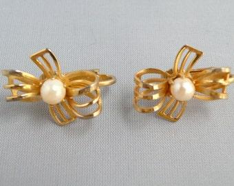 Vintage Earrings Goldtone Loops With Faux  Pearl