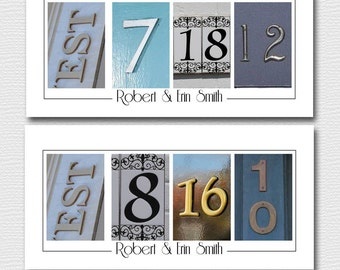 Wedding Gift , Save the Date Sign , Couples Gift, Parents Thank you Frame your Date / Number Photos - UNFRAMED 10x20 - Personalized Print