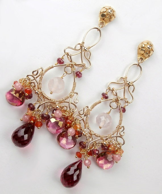 RESERVED - Pink Chandelier Earrings Wire Wrapped Gold Fill Pink Topaz Tourmaline - Payment 1