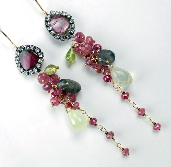 SALE - Watermelon Tourmaline Diamond Bezel Style Long Dangle Earrings 14kt Gold Fill Pink Sapphire Multicolor Gemstone - Kerry