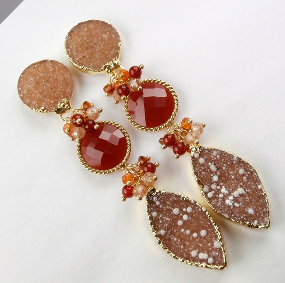 Druzy Earrings Cinnamon Druzy Post Clip On Earrings Long Carnelian Orange Dangle Earrings Luxury Statement Fall Fashion - Lucy