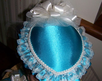 Sale Ladies Civil War Hat Teal Satin with Ivory Braid and Satin Ribbons