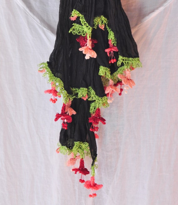 Black Scarf with Pink, Bordeaux, Salmon Crochet Flowers