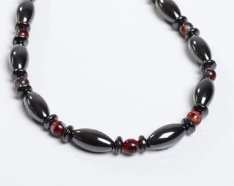 Magnetic Therapy Necklace Red Glass and Magnetite Custom Made- Sierra Style