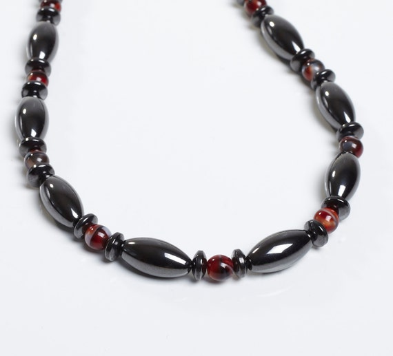 magnetic therapy necklace glass and magnetite custom made