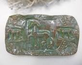 Horse Pottery Butter Dish - Soap Dish Ceramic Sponge Holder Handmade Pottery w feet rustic green