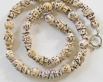 Faux Carved Ivory Necklace