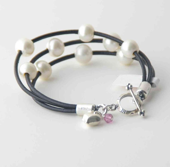 Black Leather Bracelet, Multistrand, Freshwater Pearl, White Pearl, 3 Strands, Pink Topaz, Cuff, Sterling Silver Toggle, Charm,