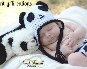Crochet Panda Hat, Newborn Panda Hat, Baby Hat, Toddler Hat /Panda Bear Baby Hat (Ready to Ship)