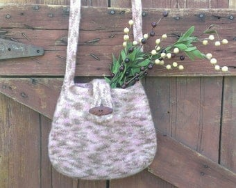 Felted wool bag pink and coco brown