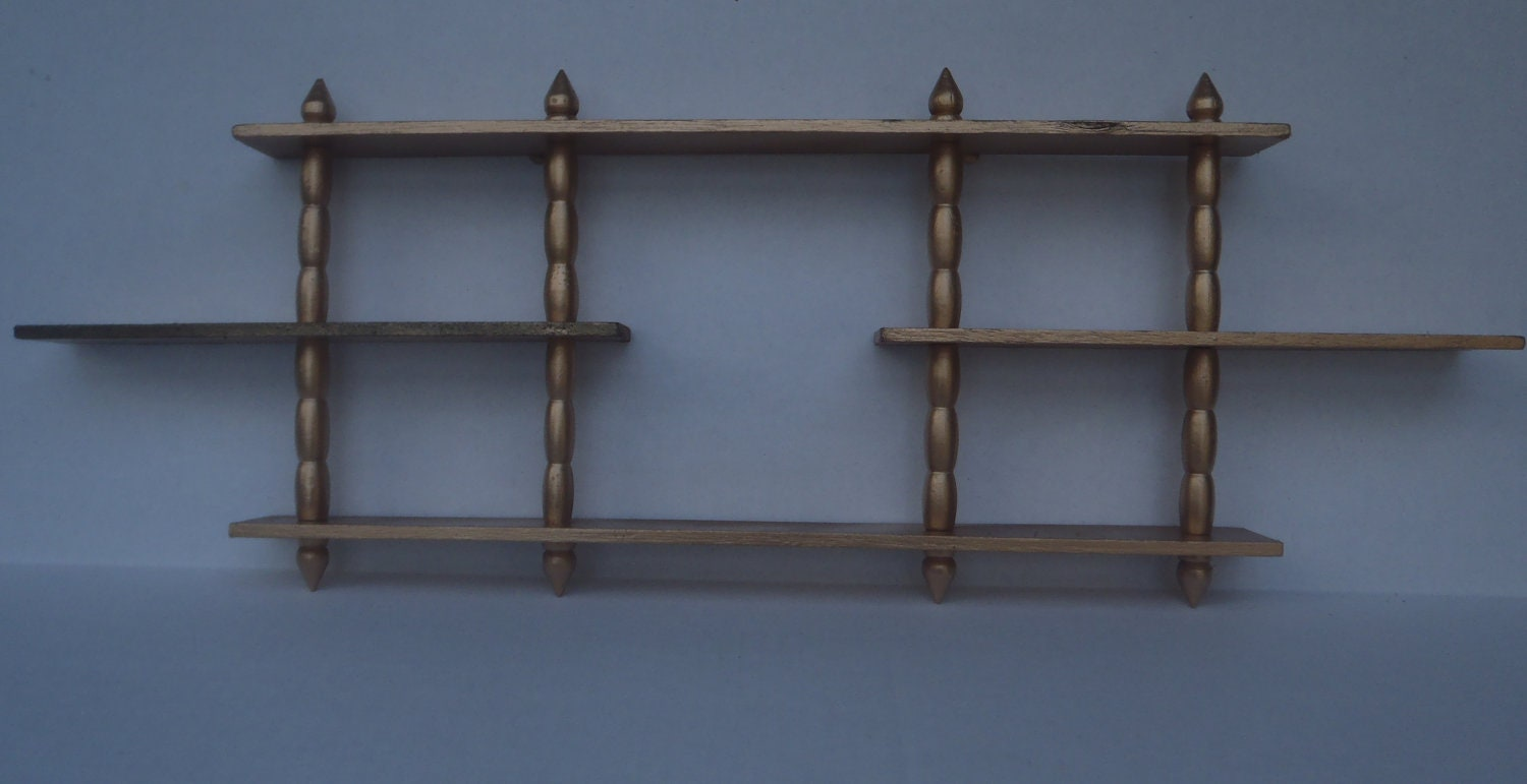 Vintage Spindle Knick Knack Shelf Three Tiered Gold