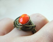 Pumpkin Ring, Jewelry Rings, Orange Ring, Cocktail Rings, Size 6.5, Fire, Copper, Apricot, Halloween Jewelry, Coral, Tangelo, Rustic Ring