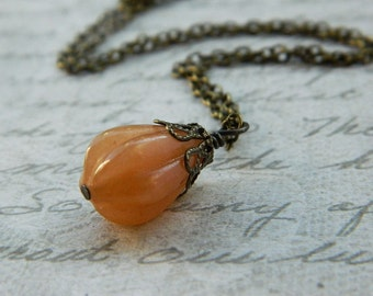 Red Aventurine Pendant - Necklace - Brown, Cocoa, Cinnamon, Dark Orange, Fire, Sun, Copper, Apricot, Fall, Night, Autumn, Tangelo, Rustic