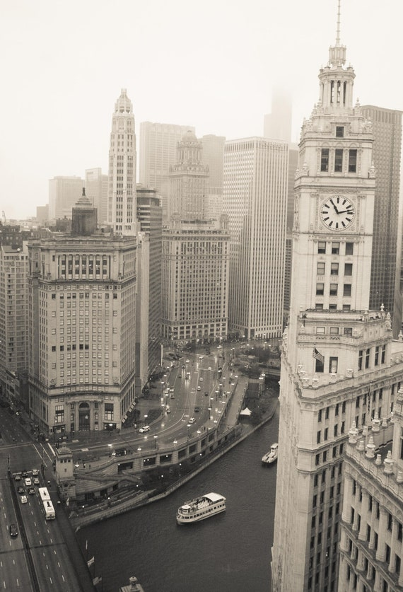 Chicago photography, Chicago Architecture View, Wrigley Building Clock, etsy wall art - chicago art, Chicago River