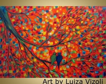 ORIGINAL Landscape Painting URBAN BIRDS Colorful Whimsical Fine Art on Canvas by Luiza Vizoli 36x24