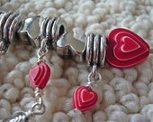 NEW LISTING Sweetheart Mini Bib Necklace with Charm Spacers and Red Acrylic Heart Beads