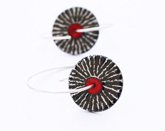 White Black and Red Enamel Copper and Silver Earrings