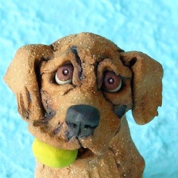 Golden Retriever Dog  with Tennis Ball Ceramic Sculpture