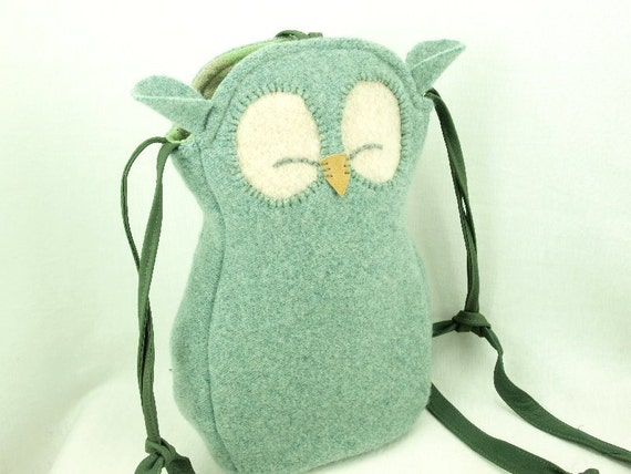 Owl Bag Wool Messenger Bag Recycled Wool in Light Turquoise with Adjustable Leather Strap Cotton Lining Eco Friendly Height 10""