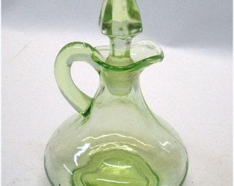 1930's Hocking Glass Green Vaseline Glass Cruet with Stopper