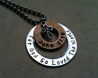 Inspirational Stainless Steel Metal Hand Stamped Jewelry Necklace Pendant