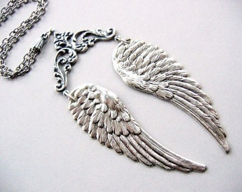 Feathered Wings Necklace silver plate ox