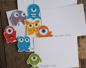Little Monsters Party - Set of 8 Assorted Little Monster Thank You Notecards by The Birthday House