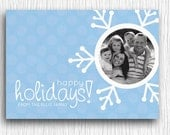 Printable Christmas Card - Blue Snowflake Photo Card
