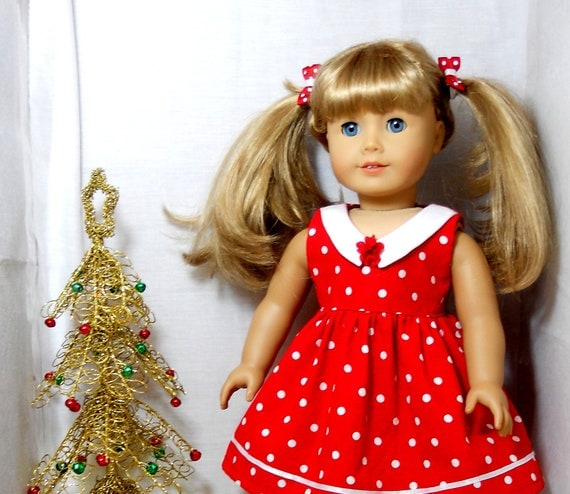 """American Girl 18"""" doll dress red with white polkadots includes pigtail hair ties"""