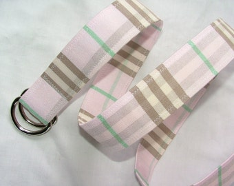 D Ring Belt, womens belt beautiful soft and pink plaid, S/M, ready to ship