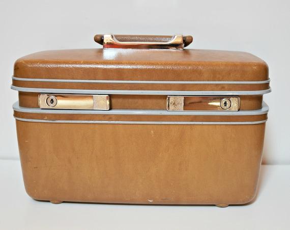 Vintage Samsonite Profile Brown Gold Train Case with Mirror