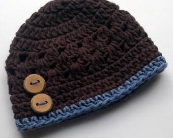 Baby Boy, Baby Boy Crochet Hat, Baby Boy Beanie Hat, Newborn Boy Hat,  MADE TO ORDER newborn-3 months