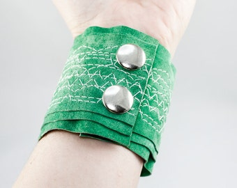SALE Stitched Leather Cuff - Green Suede w/ White Stitching (Extra Wide)