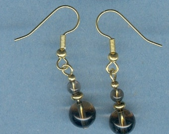 Round Smokey Quartz Gemstone Earrings