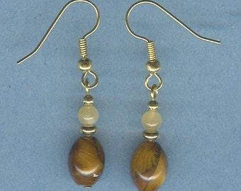 Tiger Eye and Aragonite Gemstone Earrings