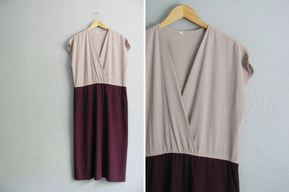 vintage '70s TWO-TONE maroon & TAUPE maxi dress. size xl 1x 2x.