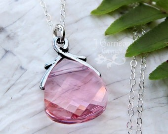 Light Rose Swarovski crystal briolette necklace - sterling silver chain - light pink crystal