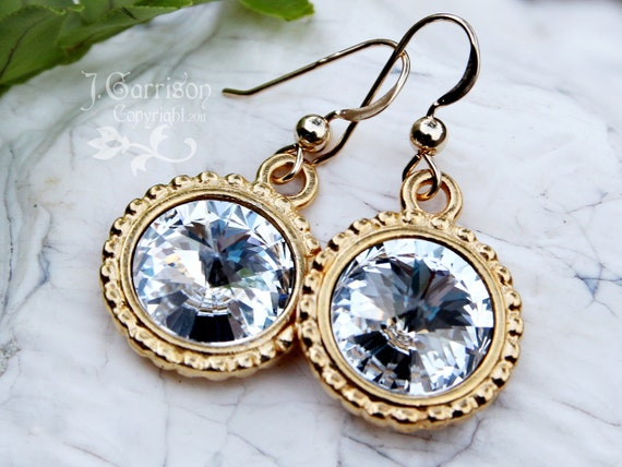 Clear Crystal Swarovski Rivoli Crystal & Gold Earrings - beautiful bling for your ears - white wedding- free shipping USA