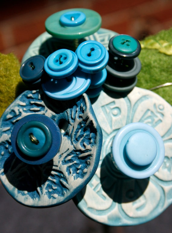 Blue Button Flower Bouquet small - Ceramic, vintage, and recycled