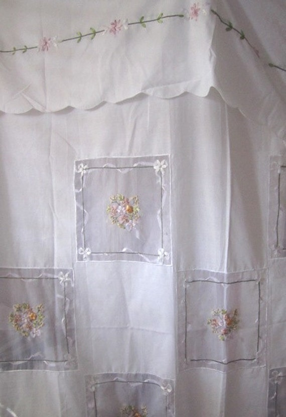 Shabby chic vintage stunning shower curtain for Shabby chic rhinestone shower hooks