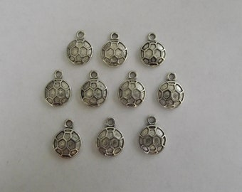 Soccer ball charms- ten charms- antique silver charms