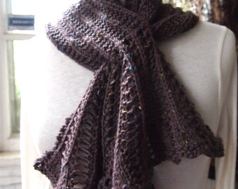 Dropping Keyhole PDF Scarf Hand Knitting Pattern