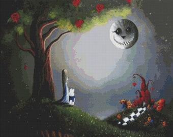 Return to Wonderland By Shawna Erback - Fantasy Modern Cross Stitch Kit - Fairytale Alice in Wonderland - GeckoRouge