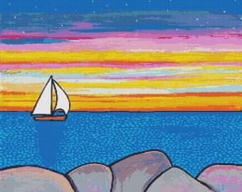 Modern cross stitch kit by Shelagh Duffett 'Sunset Sail' - counted cross stitch (Alice in Paris)